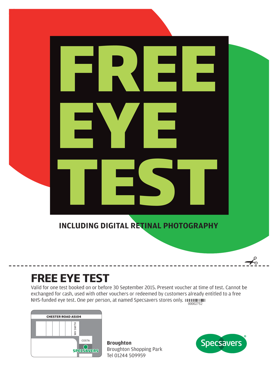 c468503aa6b5 Specsavers Voucher: Free Eye Test | Broughton Shopping in Chester ...