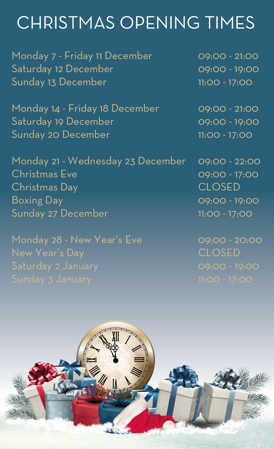 Christmas opening times | Crownpoint Shopping in Denton, Manchester