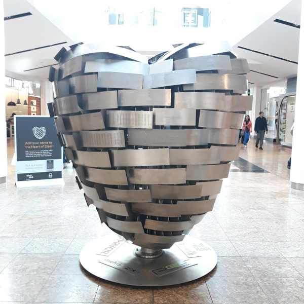 0653c05f2 As a leading supporter of the Yorkshire community, Meadowhall has placed  the Heart of Steel in prime position at the centre of the mall outside H.  Samuel ...